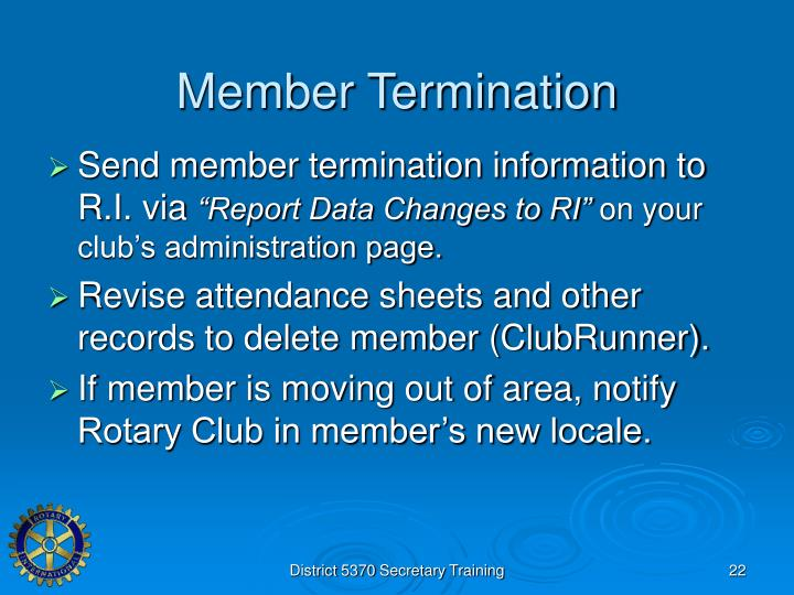 Member Termination