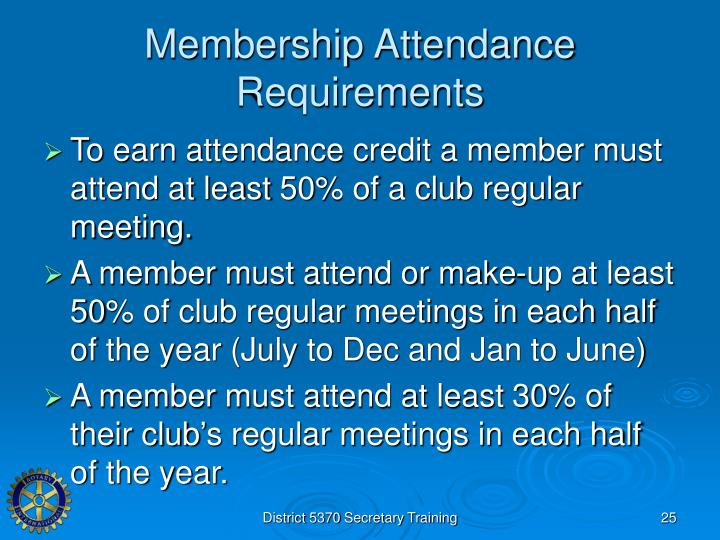 Membership Attendance Requirements