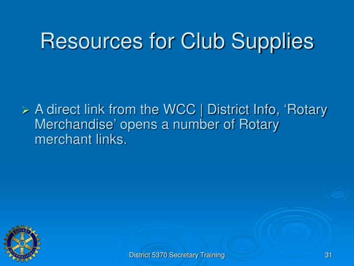 Resources for Club Supplies