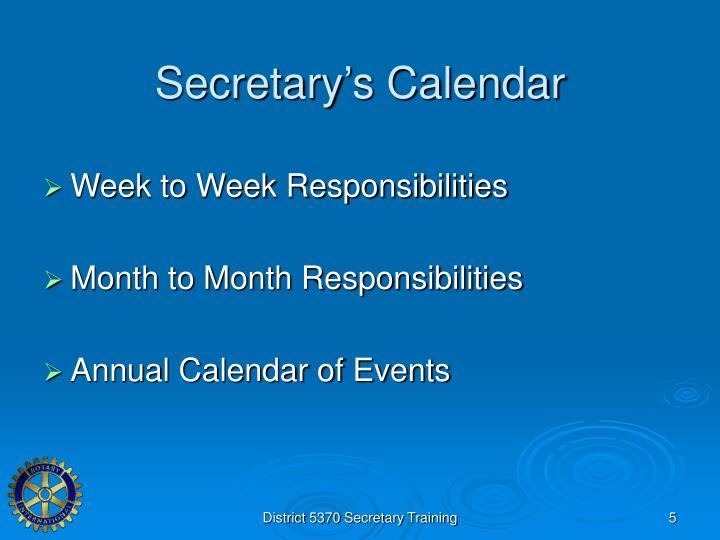 Secretary's Calendar