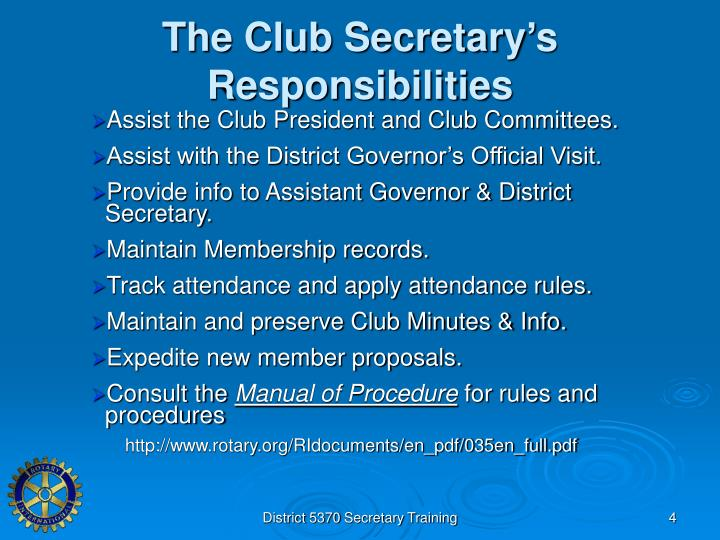 The Club Secretary's Responsibilities