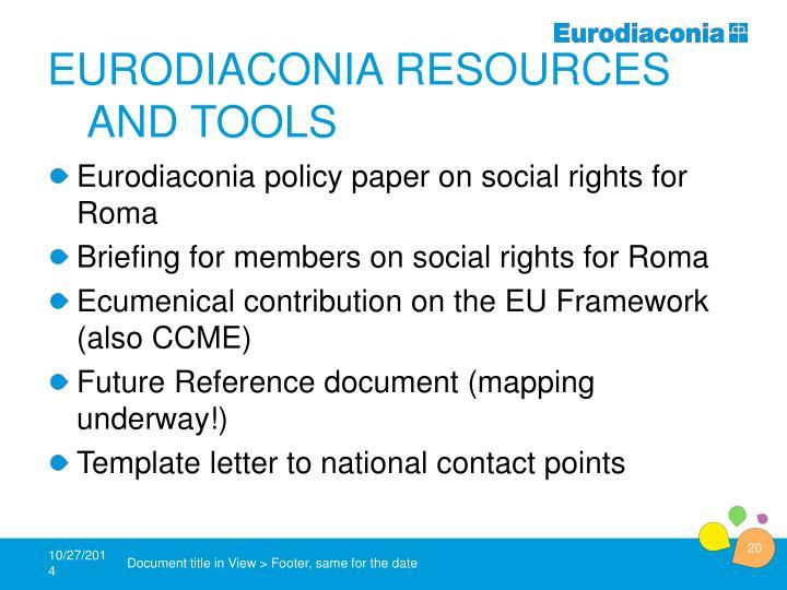 Eurodiaconia Resourcesand tools
