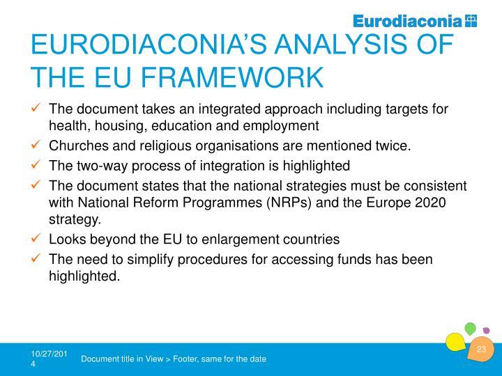 Eurodiaconia's analysis of the EU framework