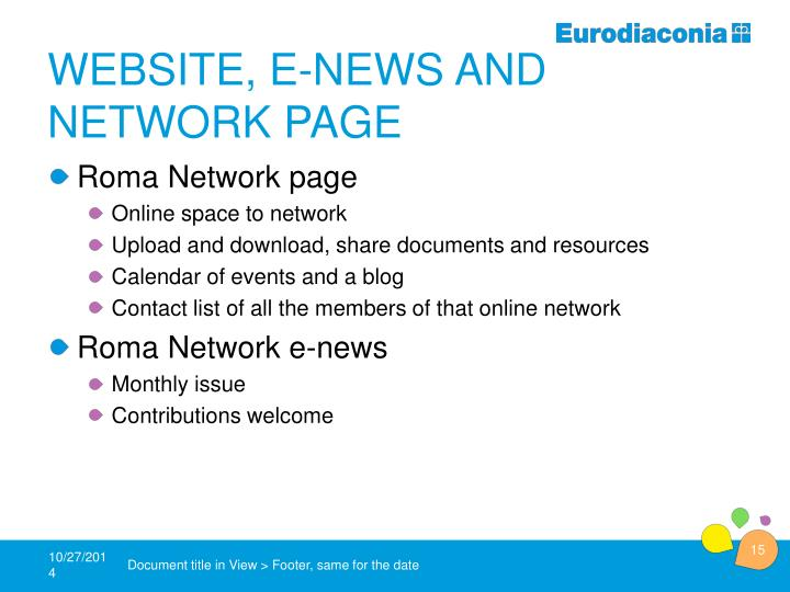 Website, e-news and network page