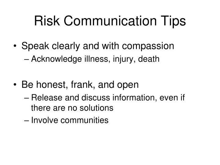 Risk Communication Tips