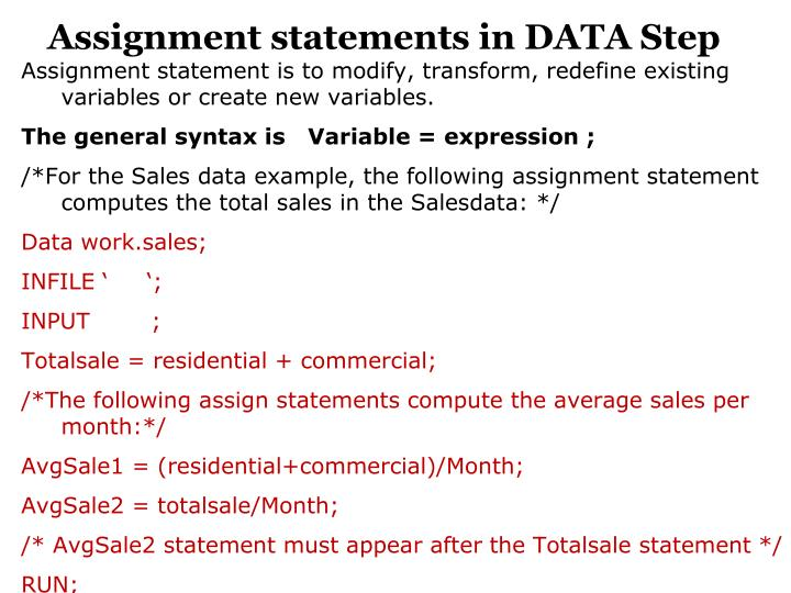 Assignment statements in DATA Step