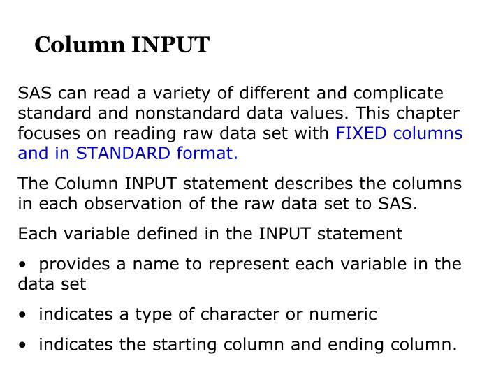 Column INPUT