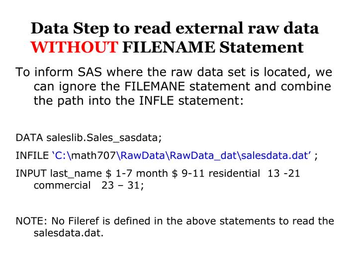 Data Step to read external raw data