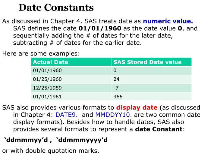 Date Constants