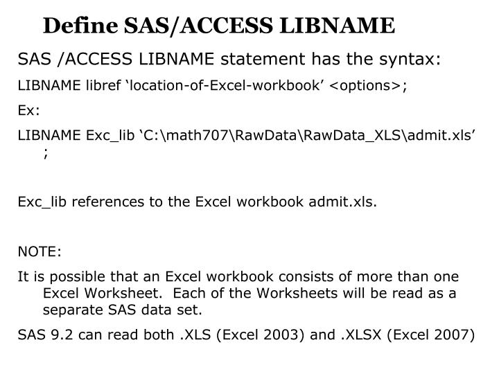 Define SAS/ACCESS LIBNAME
