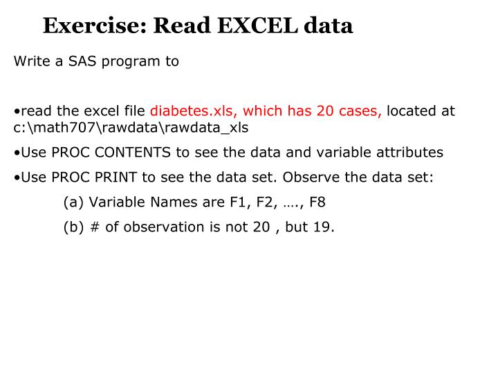 Exercise: Read EXCEL data
