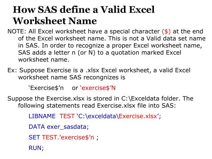 How SAS define a Valid Excel Worksheet Name