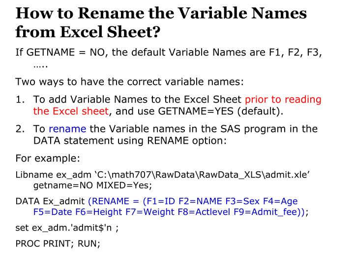 How to Rename the Variable Names from Excel Sheet?