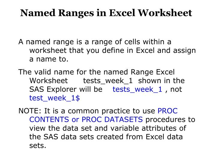 Named Ranges in Excel Worksheet