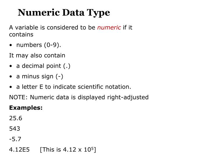 Numeric Data Type