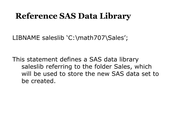 Reference SAS Data Library