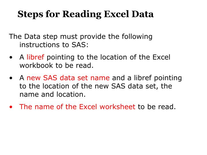 Steps for Reading Excel Data