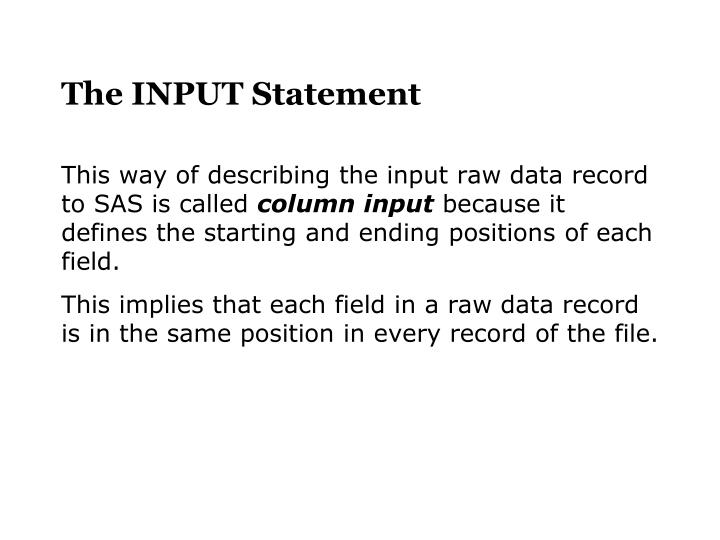 The INPUT Statement