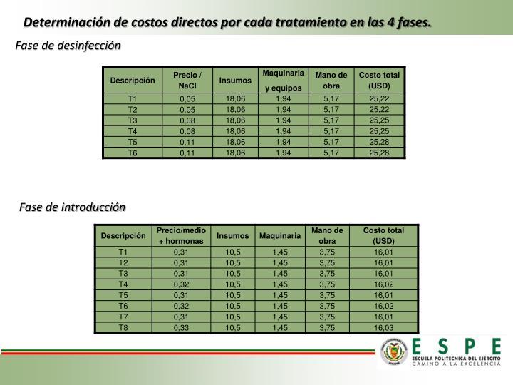 Determinación de costos directos por cada tratamiento en las 4 fases.