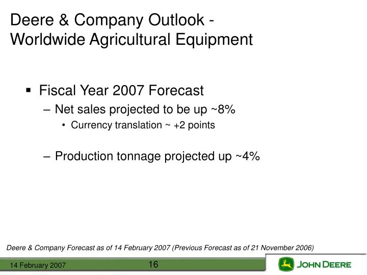 Deere & Company Outlook -
