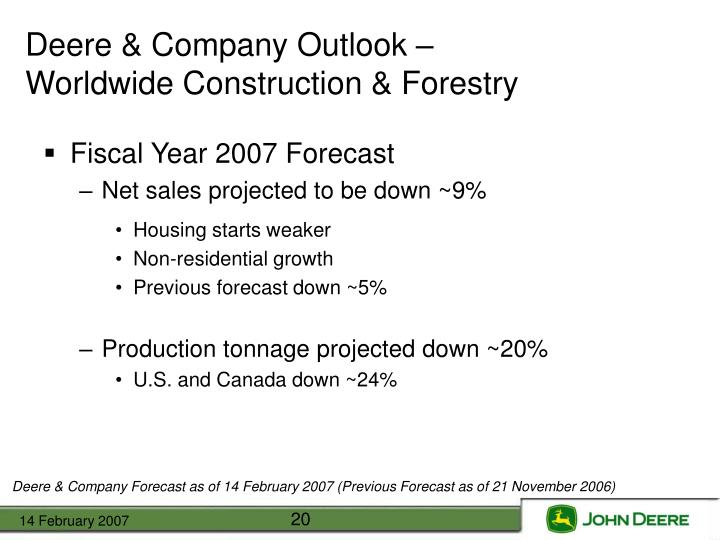 Deere & Company Outlook –