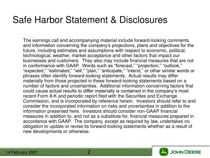Safe Harbor Statement & Disclosures