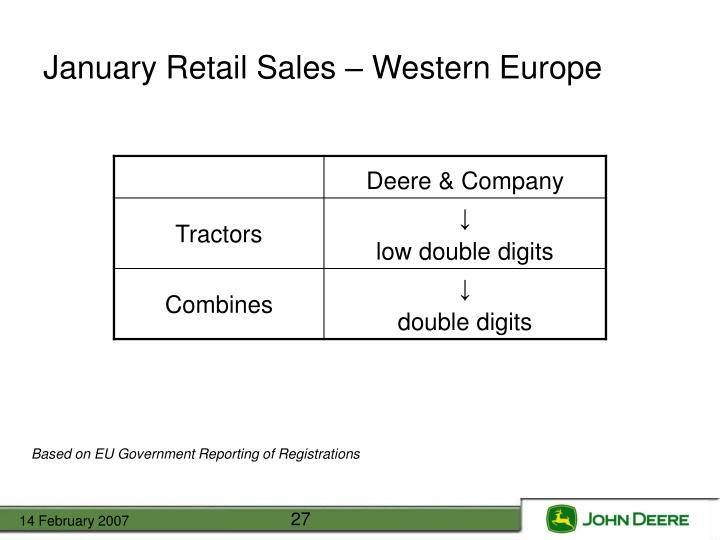 January Retail Sales – Western Europe