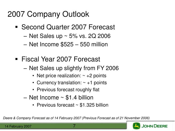 2007 Company Outlook
