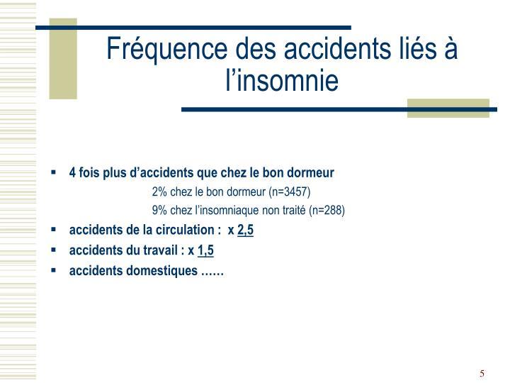 Fréquence des accidents liés à l'insomnie