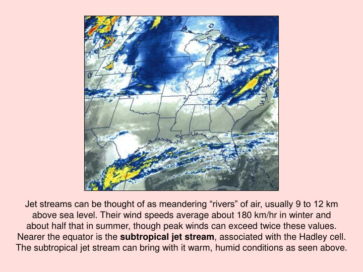 "Jet streams can be thought of as meandering ""rivers"" of air, usually 9 to 12 km"