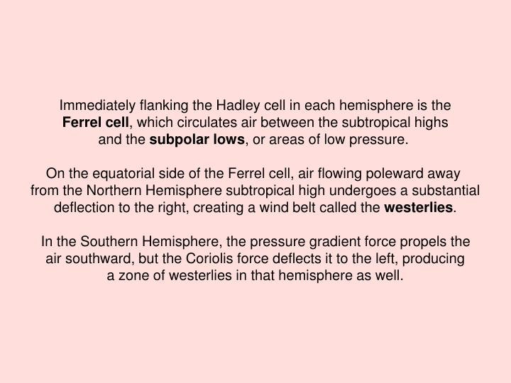 Immediately flanking the Hadley cell in each hemisphere is the