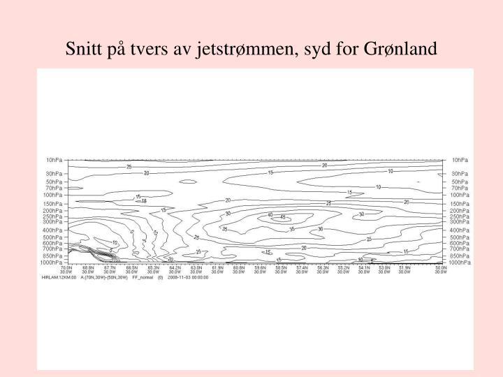 Snitt på tvers av jetstrømmen, syd for Grønland