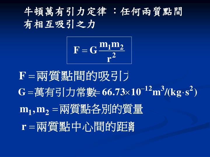 牛頓萬有引力定律