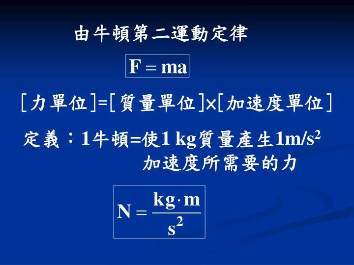 由牛頓第二運動定律