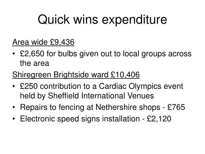 Quick wins expenditure