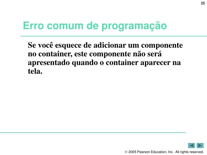 Erro comum de programação