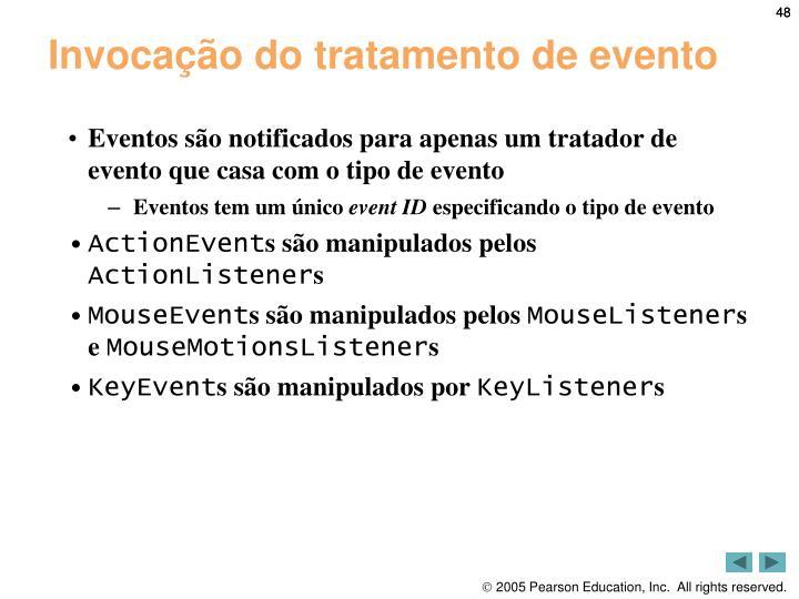 Invocação do tratamento de evento