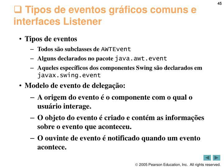 Tipos de eventos gráficos comuns e interfaces Listener