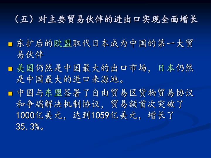 (五)对主要贸易伙伴的进出口实现全面增长