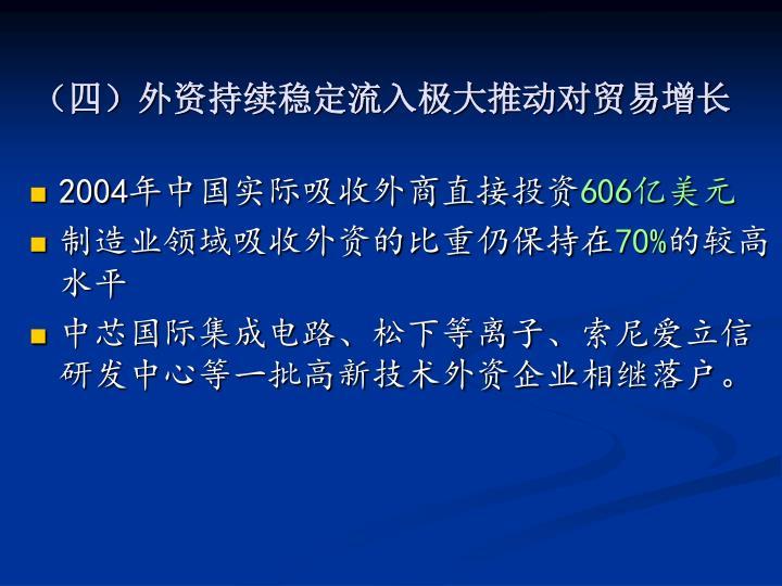 (四)外资持续稳定流入极大推动对贸易增长