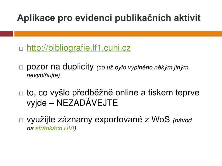 Aplikace pro evidenci publikačních aktivit