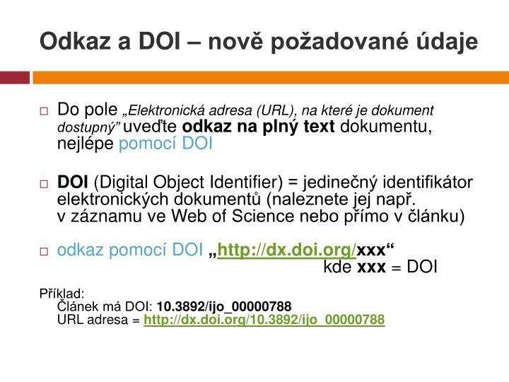 Odkaz a DOI – nově požadované údaje