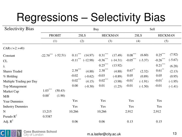 Regressions – Selectivity Bias
