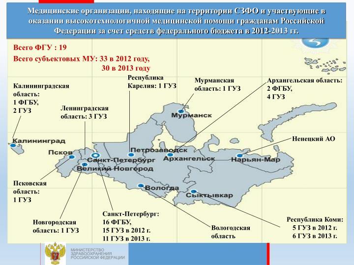 Медицинские организации, находящие на территории СЗФО и участвующие в оказании высокотехнологичной медицинской помощи гражданам Российской Федерации за счет средств федерального бюджета в 2012-2013 гг.