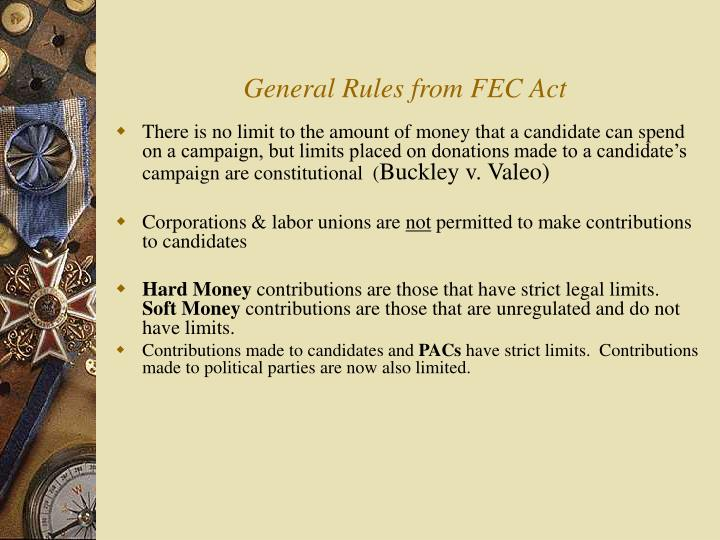 General Rules from FEC Act