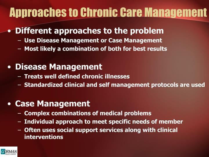 Approaches to Chronic Care Management
