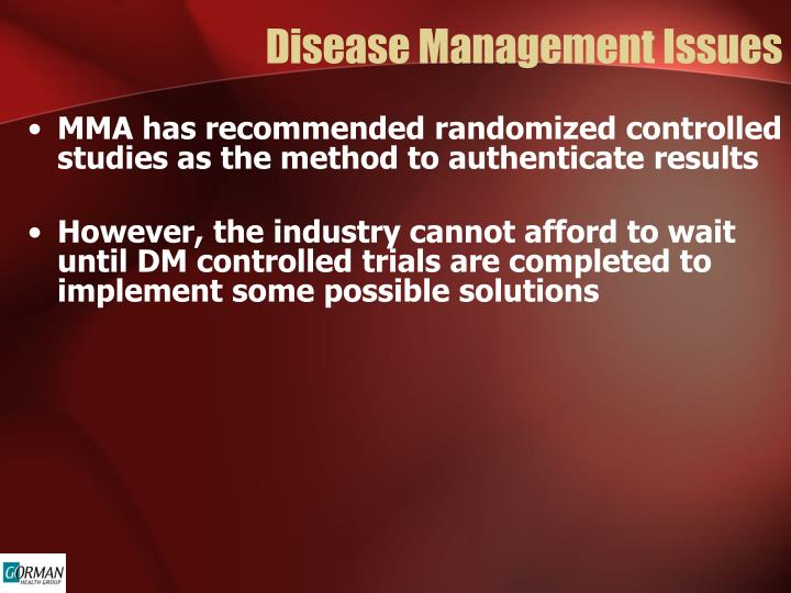 Disease Management Issues