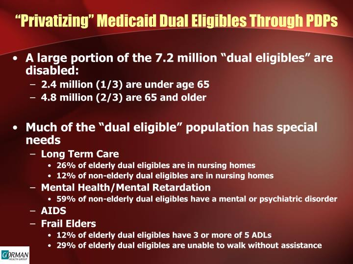 """Privatizing"" Medicaid Dual Eligibles Through PDPs"