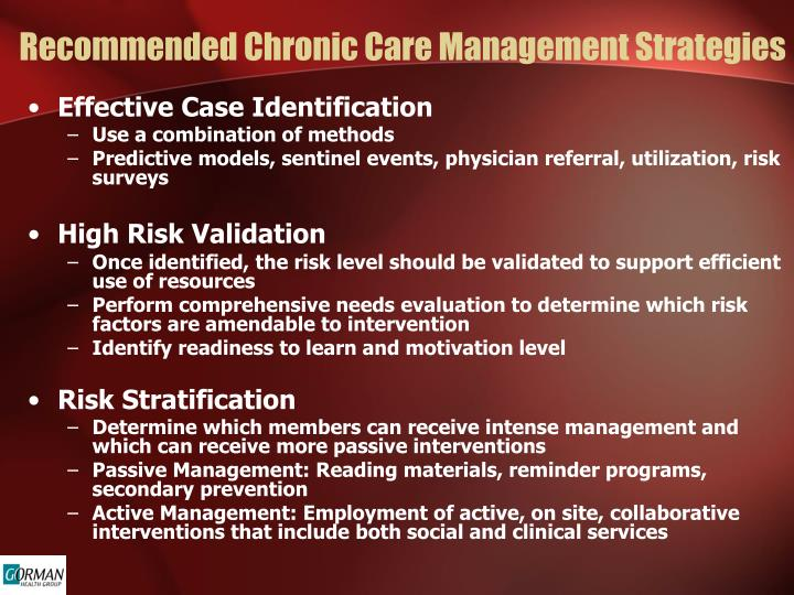 Recommended Chronic Care Management Strategies