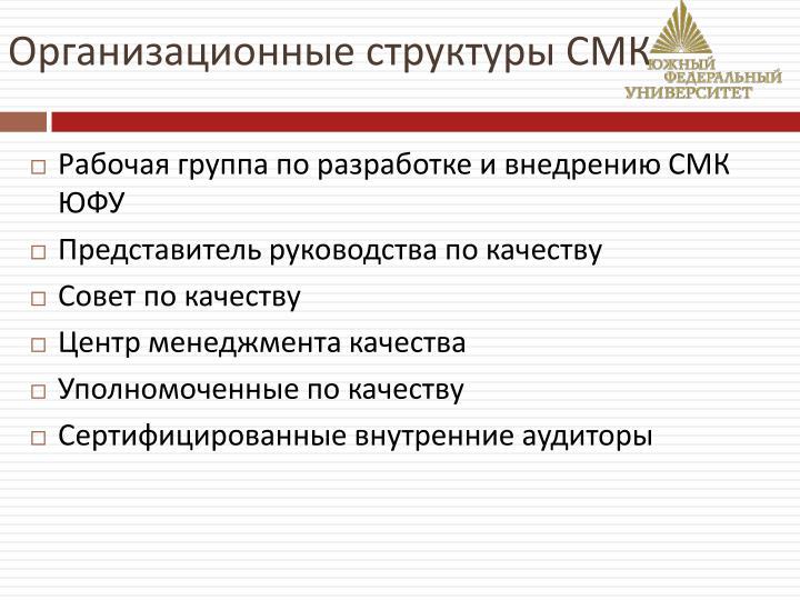 Организационные структуры СМК